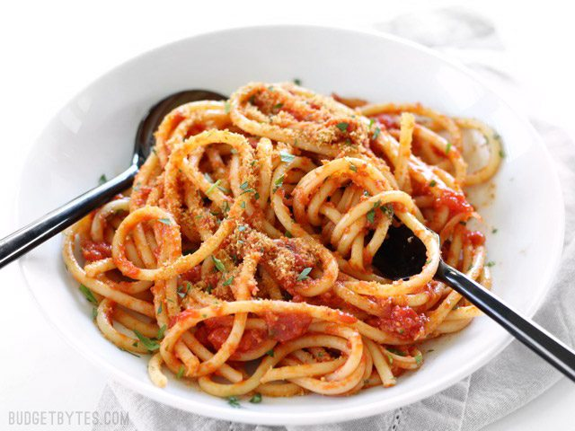 Pasta with Butter Tomato Sauce and Toasted Bread Crumbs utensils - The Best Food for Successful First Date